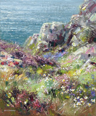 British Artist Rex PRESTON - Spring Flowers, Treen Cliffs