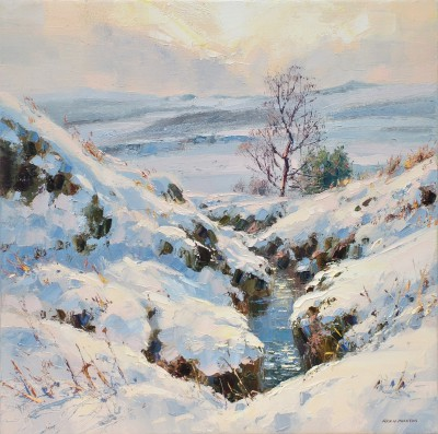 British Artist Rex PRESTON - March Snow, Burbage Moor