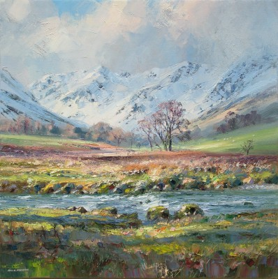 British Artist Rex PRESTON - March Sunlight, Grisedale Beck, Lake District