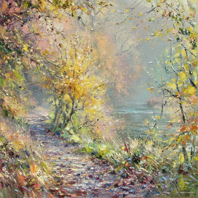 British Artist Rex PRESTON - November Sunlight, Dovedale