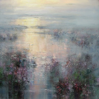 British Artist Rex PRESTON - Evening Reflections, Hallam Moors