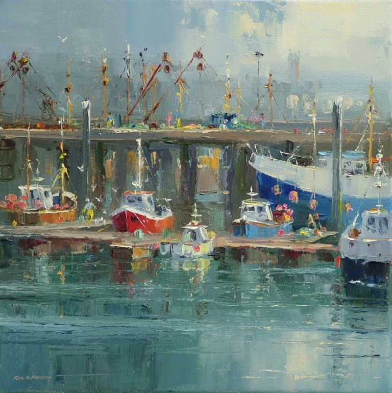 Rex PRESTON - Morning Light, Newlyn Harbour