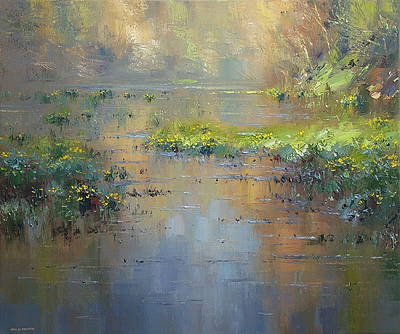 British Artist Rex PRESTON - Marsh Marigolds in the Late Afternoon Light