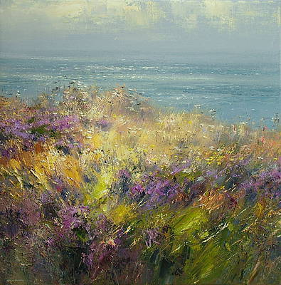 British Artist Rex PRESTON - Clifftop Heather, Cape Cornwall