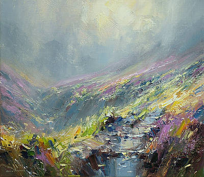 British Artist Rex PRESTON - Reflected Sunlight, Fairbrook Valley