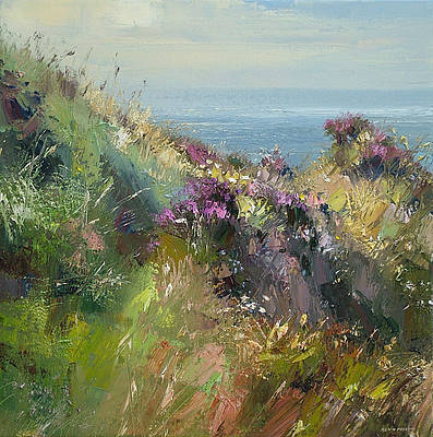 British Artist Rex PRESTON - July Afternoon, Priests Cove, Cornwall