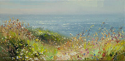 British Artist Rex PRESTON - Clifftop Flowers, Cornwall