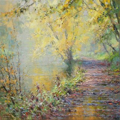 British Artist Rex PRESTON - Autumn Morning, Miller's Dale