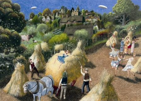 British Artist Richard Adams - Among The Sheaves