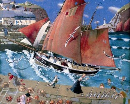 British Artist Richard Adams - The Cornish Harbour