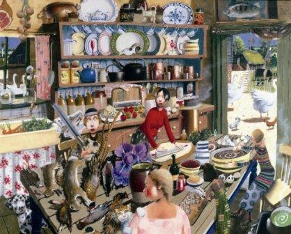 British Artist Richard Adams - Farmhouse Kitchen