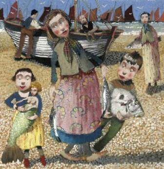 British Artist Richard Adams - Fishing Folk