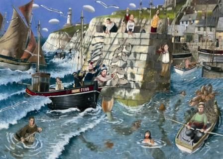 British Artist Richard Adams - Harbour Wall