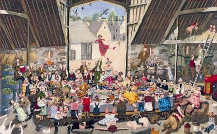 British Artist Richard Adams - Harvest Supper