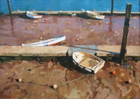 British Artist Richard DACK - Moorings at Salcombe