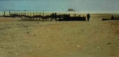 British Artist Richard DACK - Breakwater at Bembridge