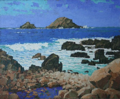 British Artist Richard DACK - The Brisons from Porth Nanven
