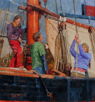 British Artist Richard DACK - Hoisting the Sail