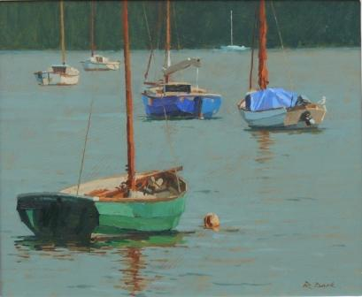 British Artist Richard DACK - Summer Moorings, River Dart