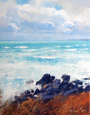 Racing Tide, near St Ives painting by artist Richard THORN