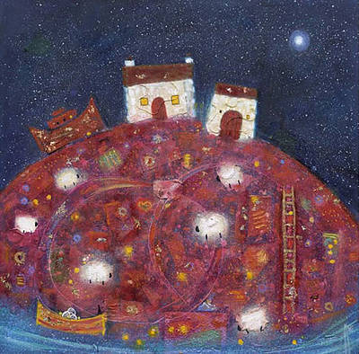 British Artist Ritchie Collins - Red Hill Night
