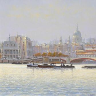 British Artist Robert CRISP - Thames at Dawn