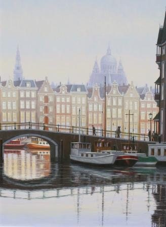 British Artist Robert CRISP - Winter Light, Amsterdam