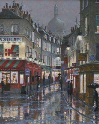 British Artist Robert CRISP - After the Rain, Montmartre