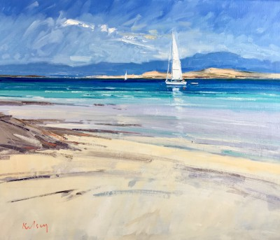 Robert KELSEY, contemporary artist - Yacht Mooring off Iona
