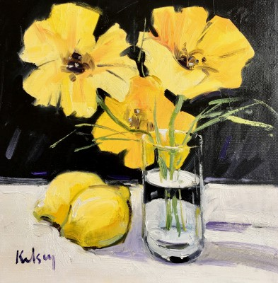 Robert KELSEY, contemporary artist - Lemons and Poppies