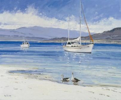 Robert Kelsey - Geese on the White Sands of Morar