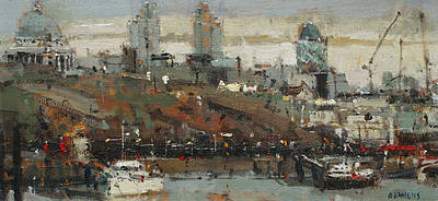 British Artist Robert E WELLS - City from Waterloo Bridge