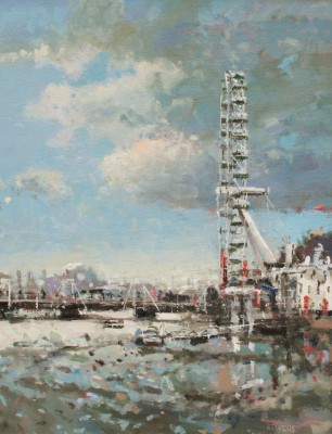 British Artist Robert E WELLS - The London Eye from Westminster Bridge