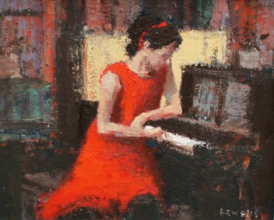 British Artist Robert E WELLS - The Piano