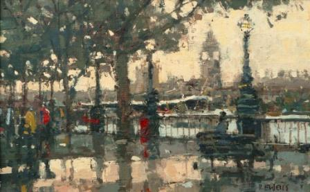 British Artist Robert E WELLS - Pontoon Embankment