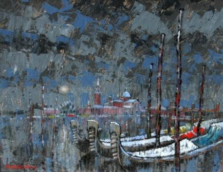 British Artist Romeo di GIROLAMO - The Lagoon in Winter