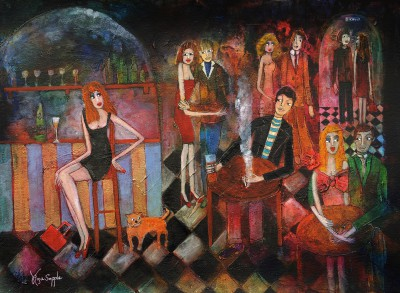 British Artist Rosa SEPPLE - Girl at the Bar