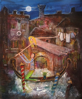 British Artist Rosa SEPPLE - In a Venetian Waterway
