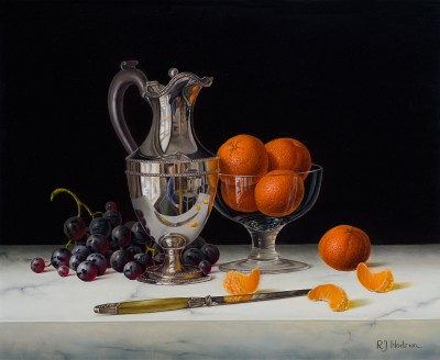 Limited Edition Prints Artist Roy Hodrien - Silver Flagon with Black Grapes and Mandarins