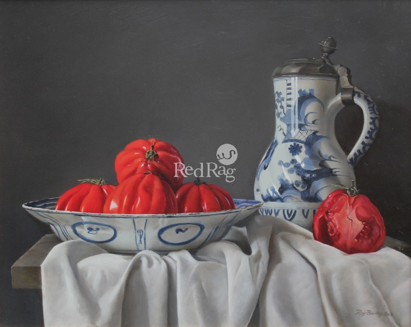 Roy BARLEY - Spanish Tomatoes in a Kraak dish with Delft jug