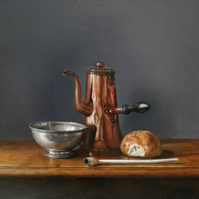 Roy BARLEY - Chocolate Pot, Pewter Bowl and Bread roll