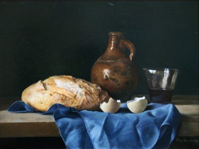British Artist Roy BARLEY - Bread, brown bottle, tumbler on silk cloth
