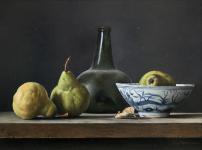 Roy BARLEY - Onion Bottle, Pears and Chinese bowl