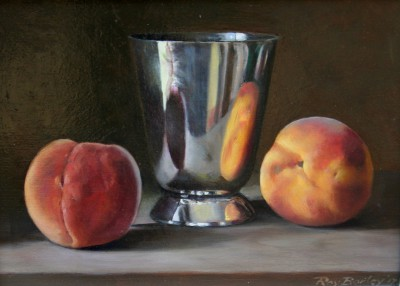 Silver Cup with Two Peaches  painting by artist Roy BARLEY