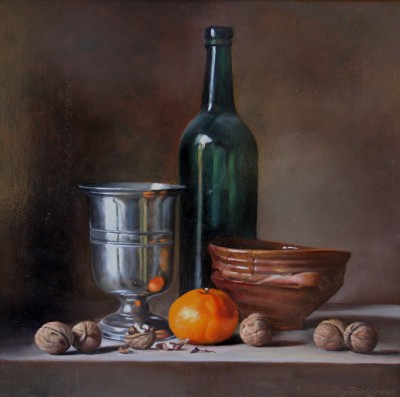 Roy BARLEY - Bottle with Silver Cup, Tangerine and Nuts