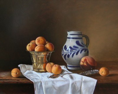 British Artist Roy BARLEY - Jug with Brass Pot with Apricots