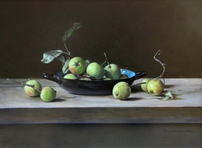 Crab Apples in Blue and Black Dish