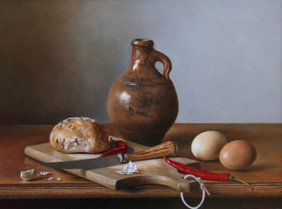 British Artist Roy BARLEY - Brown Pot, Red Chillies, Bread and Eggs