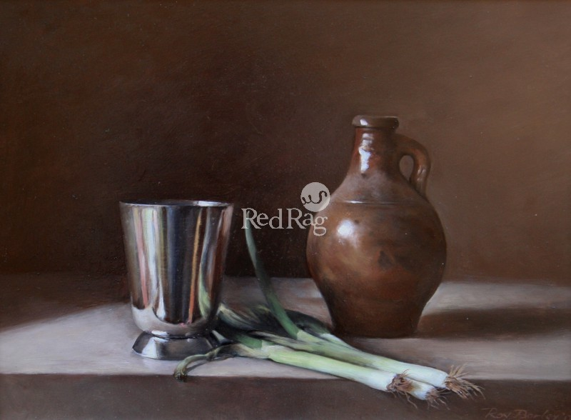 Roy BARLEY - Silver Cup, Brown Jug with Spring Onions