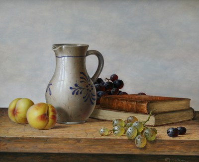 Roy HODRIEN - Earthenware Jug with Grapes and Peaches